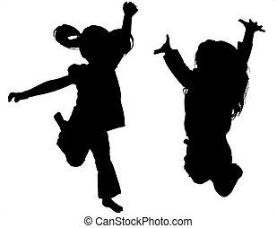 bambino, saltare, shilouette, isolato, bianco, fondo