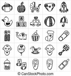 bambino, scarabocchiare, icona, serie