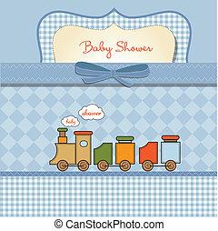 bambino, scheda, giocattolo, doccia, treno