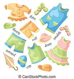 bambino, set, abbigliamento