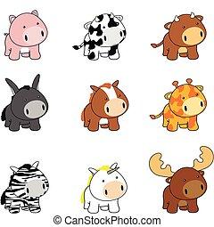 bambino, set, animali, cartone animato, pack1a
