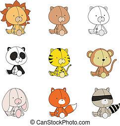 bambino, set, animali, peluche, cartone animato