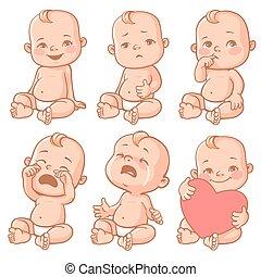 bambino, set, emozioni