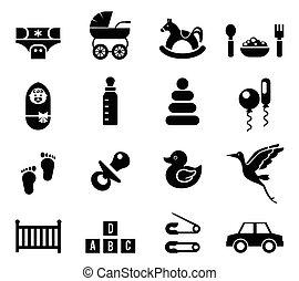 bambino, set, icone