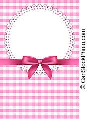 bambino, sfondo rosa, con, tovagliolo