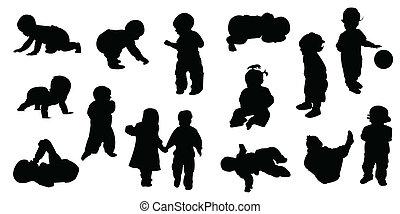 bambino, silhouette, -