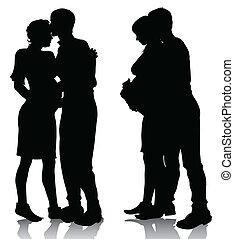 bambino, silhouette, coppia, prevedere