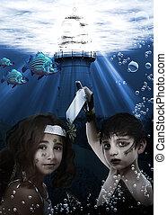 bambino, sirena, subacqueo