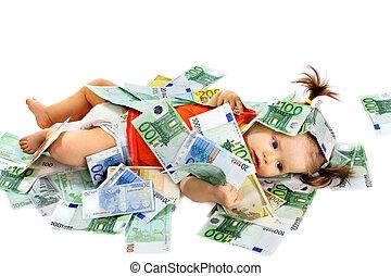 bambino, soldi., euro