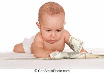 bambino, soldi, felice