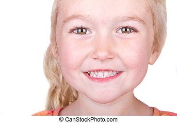 bambino, sorridente, primo piano