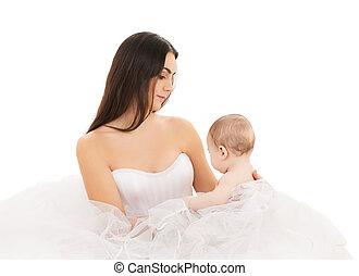bambino, sposa, poco, vestire, bianco