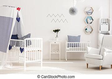 bambino, stanza, con, buono, spiaggia, atmosfera