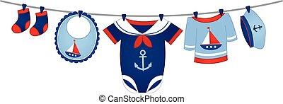 bambino, stile, vettore, vestiti, nautico