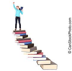 bambino, su, scala, di, libri