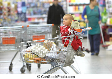 bambino, supermercato