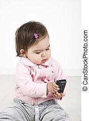 bambino, telefono, mobile