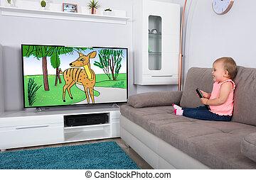 bambino, televisione, ragazza, cartone animato, osservare