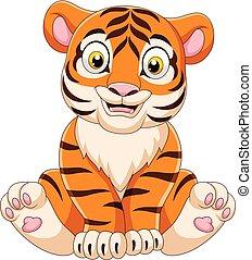 bambino, tiger, cartone animato, seduta
