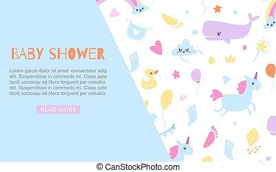bambino, unicorno, anatra, giocattoli, vettore, tuo, animali, carino, web, illustration., blu, bandiera, sagoma, ragazzo, text., bambini, invito, doccia, cartone animato, balena, sfondo., posto
