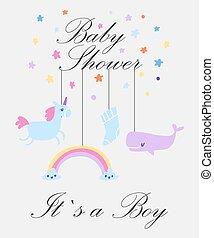 bambino, unicorno, vettore, giocattoli, tuo, animali, carino, relativo, web, illustration., sagoma, ragazzo, text., bambini, arcobaleno, invito, boy., doccia, cartone animato, balena, scheda, sfondo., posto