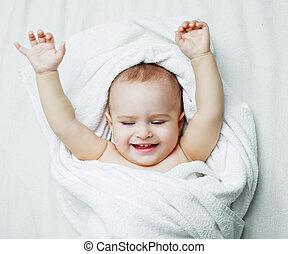 bambino, uno, asciugamano