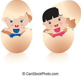 bambino, uovo, due