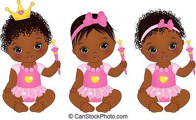 bambino, vettore, americano, carino, principesse, ragazze, africano, vestito