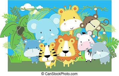 bambino, vettore, animali, safari