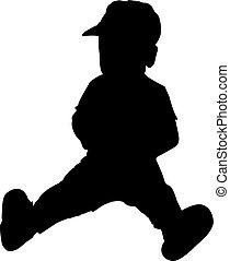 bambino, vettore, silhouette, illustrazione, seduta