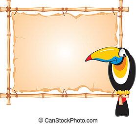 bamboe, frame, en, toucan