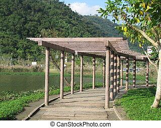 bamboe, natuur, paviljoen, aanzicht