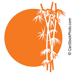 bamboe, ondergaande zon , pictogram