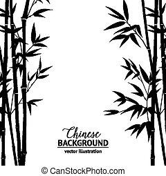 bamboe, struik, op, white.