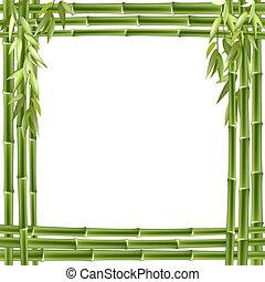 bamboe, vector, frame., achtergrond
