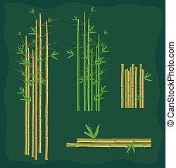 bamboe, vector, plakken, verzameling