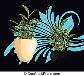 bamboe, vector, potten, gelukkig