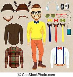 bambola, carta, hipster, moda, uomo