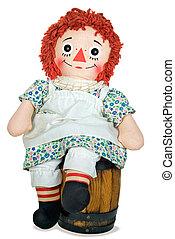 bambola pezza, su, uno, barile legno