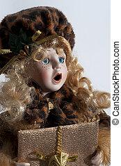bambola, -, ritratto, di, il, anticaglia, femmina, bambola, faccia