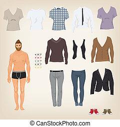bambola, su, vettore, hipster, assortimento, vestire, vestiti