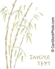 bamboo., acuarela, style.