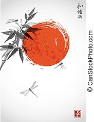 Bamboo branch, red sun and three dragonflies in Japanese style sumi-e.