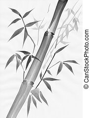 Bamboo and leaves painting study