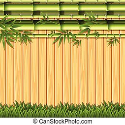 Bamboo and wooden fence concept illustration