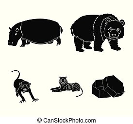 Bamboo bear, hippopotamus, wild animal tiger, monkey . Wild animal set collection icons in black style vector symbol stock illustration web.