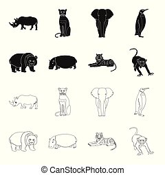 Bamboo bear, hippopotamus, wild animal tiger, monkey . Wild animal set collection icons in black,outline style vector symbol stock illustration web.
