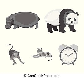 Bamboo bear, hippopotamus, wild animal tiger, monkey . Wild animal set collection icons in monochrome style vector symbol stock illustration web.