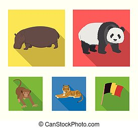 Bamboo bear, hippopotamus, wild animal tiger, monkey . Wild animal set collection icons in flat style vector symbol stock illustration web.