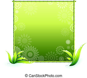 bamboo border elements on floral pattern
